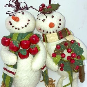 Two Large Soft Snowmen Ornaments